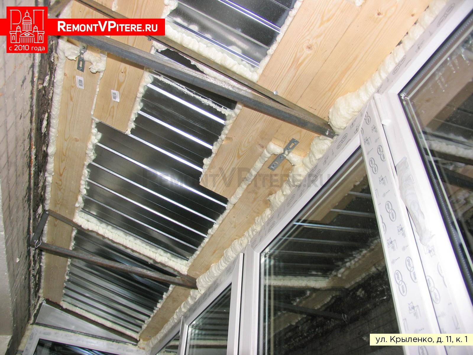 Строение крыши из профлиста